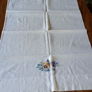 Standard embroidered pillow case with flowers